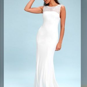 Lulus Abrianna Dress White Gown Embroidered NWT